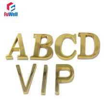 1pc A/B/C/D/VIP Letter Optional Door Plate 50mm Height Golden Alloy Adhesive Sticker Hotel Home Gate Door House Number(China)