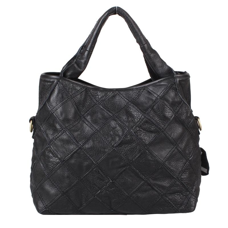 ФОТО Free shipping Rgxzr soft leather plaid women's patchwork handbag one shoulder cross-body women's genuine leather handbag big bag