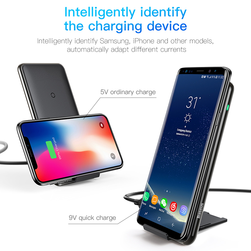 Image 2 - Baseus 10W 3 Coils Wireless Charger For iPhone X/XS Max XR Samsung S9 Note 9 10 Xiaomi Multifunction Qi Wireless Charging pad-in Mobile Phone Chargers from Cellphones & Telecommunications