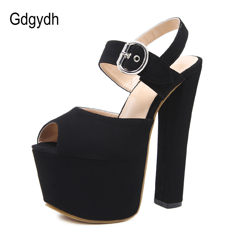 US $28.41 51% OFF Gdgydh Mode Schnalle High Heels Sandalen Frauen Frühling Sommer Flock Einfarbig Plateauschuhe Frauen Schwarz Beige Party Schuhe in