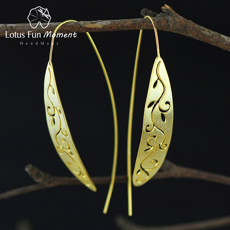 Lotus Fun Moment Real 925 Sterling Silver Natural Original Fashion Jewelry Vintage Ethnic Long Leaf Drop Earrings for Women vintage leaf water drop earrings