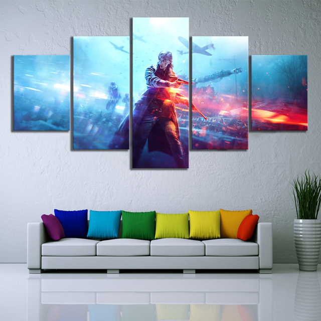 5 Piece HD Military Poster Battlefield 5 Video Game Canvas Art Wall Pictures for Living Room Decor 2