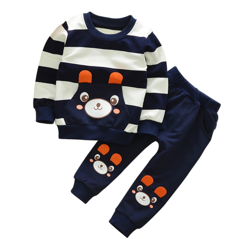 Fashion Cartoon Girls Boys Baby Bear Design Cloth Set Hoodie Top Coat+ Pant Suits 2PCs Set