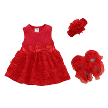 Newborn Baby Girls Infant Dress&clothes Summer Kids Party 1 Year Birthday Dress Outfits Shoes Set Christening Gown Baptism