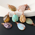 WT-P932 5pcs Tree teardrop handmade pendant for Necklace Jewelry natural stone teardrop shape with copper wire handmade stone