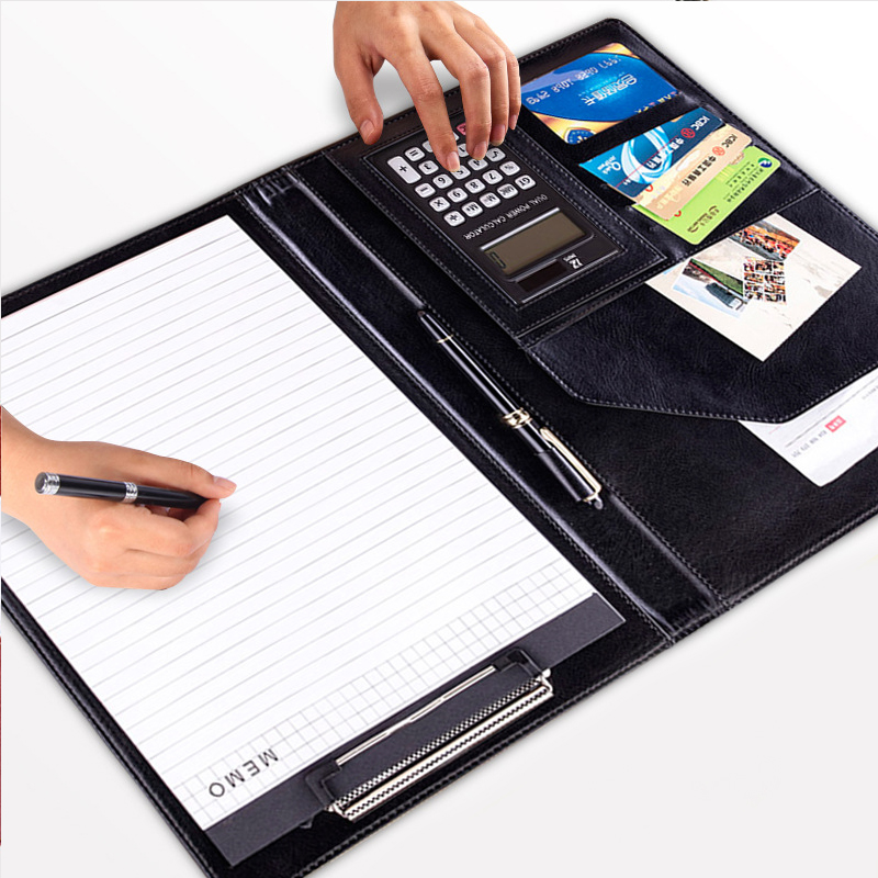 5colors Leather Folder Organizer For Document Business Multifunction Manager folder Padfolio A4 File Folder With Calculator a4 manager folder multifunction leather office folder includes 12 bit calculator clipboard business organizer folder