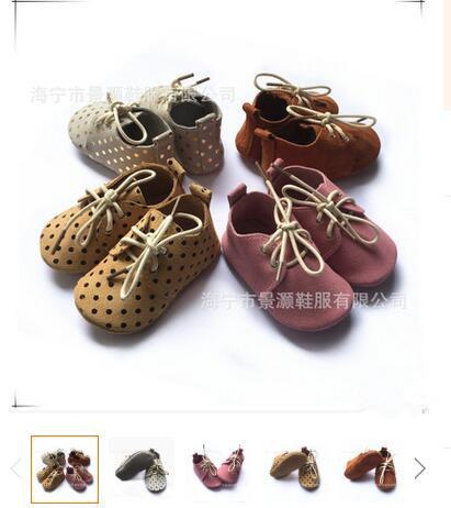 2016 Nuevo cordón del punto de Polca Del Bebé Mocasines de Cuero Genuino Elegante arriba muchachos de los bebés Zapatos hechos a mano Zapatos de suela suave primero caminantes