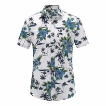 2018 New Summer Mens Short Sleeve Beach Hawaiian Shirts Cotton Casual Floral Shirts Regular Plus Size 3XL Mens clothing Fashion