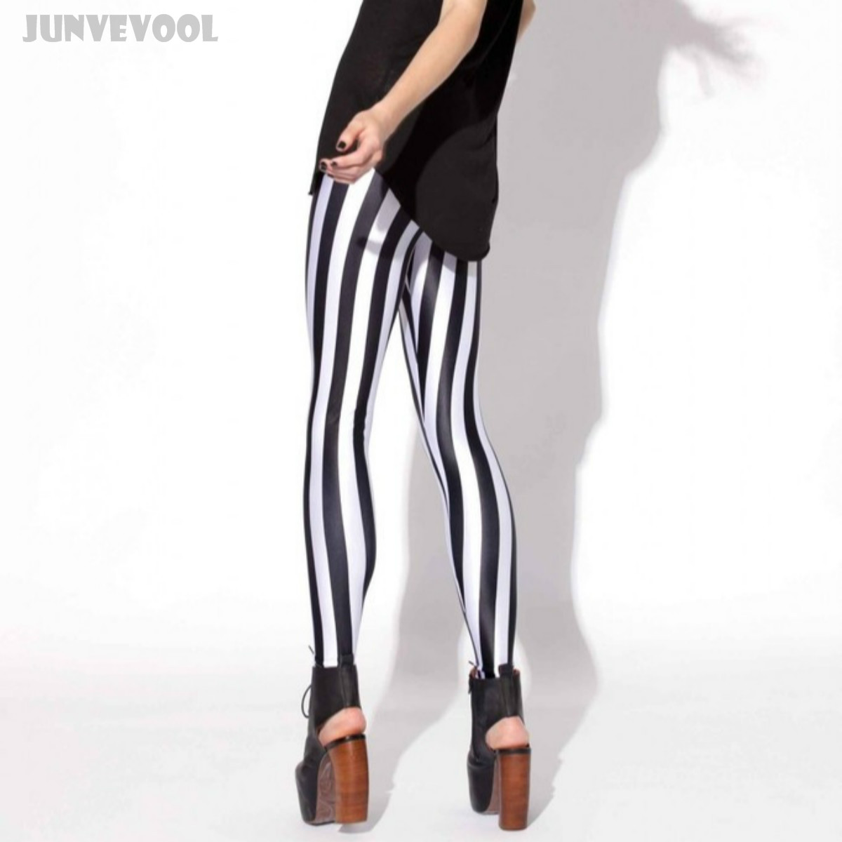 Activewear Womens High Waist Leggings Stretch Vertical Stripes Print Pants 3D Black White Patchwork Slim Trousers Plus Size 4XL 2