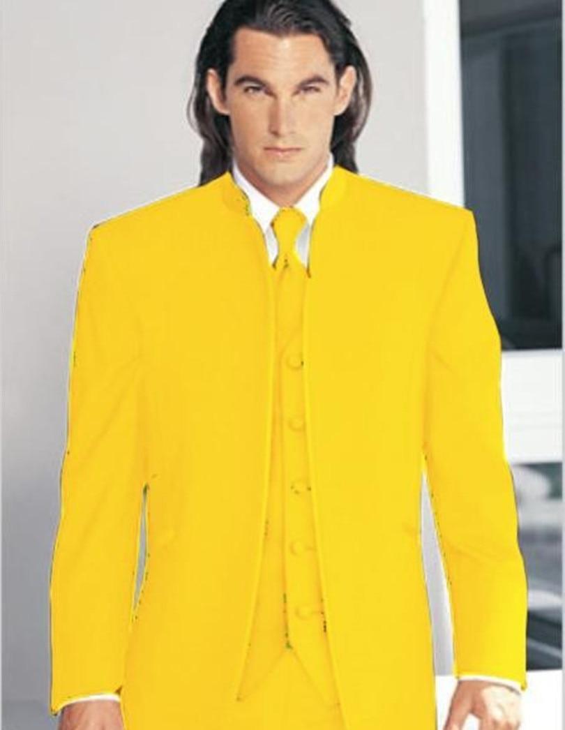 wedding suits men yellow groom tuxedo three piece classic 2015 - yan xiong's store