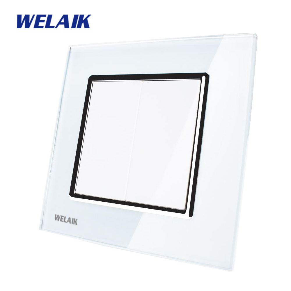 WELAIK Free shiping Crystal Glass Panel 1Frame EU White Wall Socket A18BBW free shiping crystal
