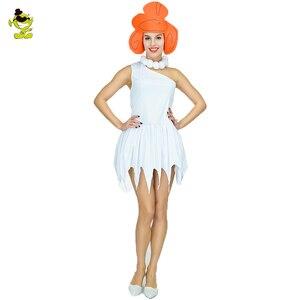 Женский карнавальный костюм Wilma Flintstone, маскарадный костюм в индийском стиле, с камнем, для карнавала, Хэллоуина