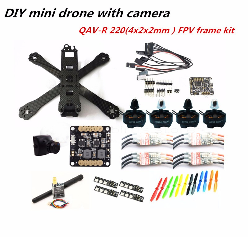 DIY mini drone QAV-R220 pure carbon 4x2x2 FPV frame kit D2204 + Red Hawk BL12A ESC OPTO + NAZE32 Rev6 + 700TVL camera + TS5823 diy fpv mini drone qav210 zmr210 race quadcopter full carbon frame kit naze32 emax 2204ii kv2300 motor bl12a esc run with 4s