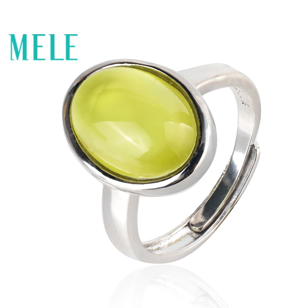 Narural yellow prehnite 925 sterling silver rings for woman and man 9X13mm Oval cut simple and