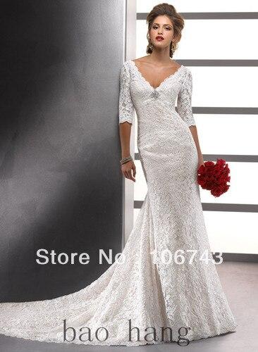 2018 nouveau design robe de mariée à la mode chaude avec petit train sirène ivoire dentelle demi manches col en v mère des robes de mariée
