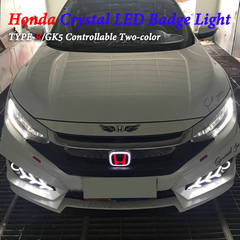 Crystal LED Badge For Honda Accord civic Fit Odyssey Pilot CRV XRV Crosstour City Front jazz Rear LED Badge Logo Emblem Light auto logo sticker 5d car logo light led emblem light for ford front & rear badge emblem car led light front emblem stickers