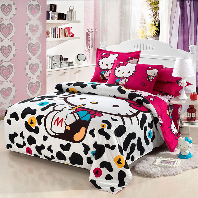 Hello kitty bedding set kids Cartoon Red black white stripes Polyester tawin full queen size bed sheets duvet cover pillowcase