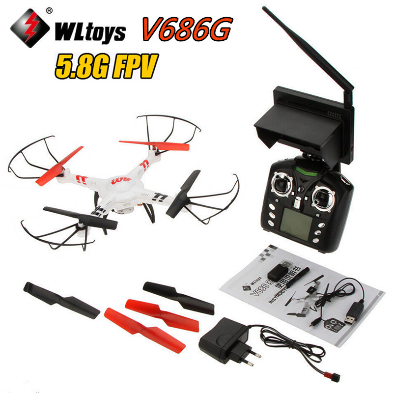 WLtoys V686G (5.8GHz FPV Version) 4CH Drone FPV RC Quadcopter  with 2MP Camera RTF 2.4GHz Real Time Transmission wltoys v686 v686g fpv version 4ch professional drones quadcopter with hd camera rtf 2 4ghz real time transmission cf mode jjrc