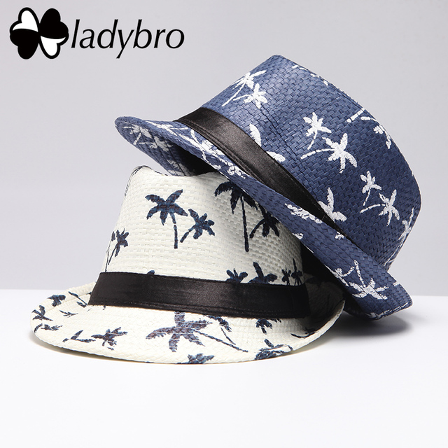 e1318661836 Ladybro Brand Men Sun Hat Casual Panama Cap Men Beach Straw Hat Summer Jazz  Fedora Coconut Tree Bucket Hat For Male Visor Cap