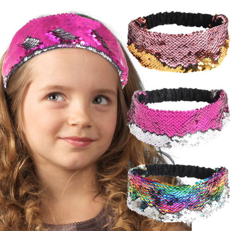 Girl's Hair Accessories Girl's Accessories 1 Pc Reversible Sequins Hairbands Colorful Glitter Sequin Headbands Novelty Headwear For Women