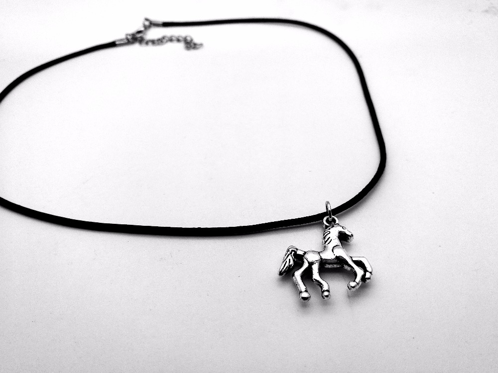 10PCS Vintage Cute Simple Running Horse Necklace Lucky Cartoon Unicorn Deer Rope Leather Necklaces for Animal Jewelry Gifts