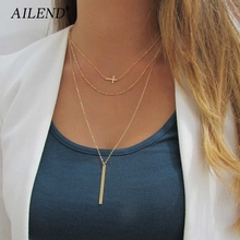 AILEND 2018 New Retro simple copper beads chain alloy cross metal rod 3 layer Set Pendant Necklaces Bohemian jewelery