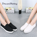 DreamShining Fashion Low Ladies Loafers Platform Flat Slip On  Solid Woman Leisure Shoe Female Winter Flats Shoes Black / White