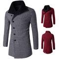 autumn winter men fashion big stand collar plaid long woolen coat Wool & Blends men casual Oblique buckle  Wool & Blends