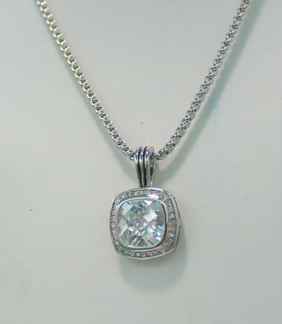 2014 NEW 18K GP CABLE DAVID FASHION SS BIG PAVE CRYSTAL square white charm luck necklace 45CM+ free shipping wholesale/retail