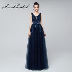 Longos Vestidos de Noite 2019 Sexy V-Neck Lace Applique Tulle Beads Pavimento Length Vestidos de Casamento Vestidos de Festa de Formatura CC242