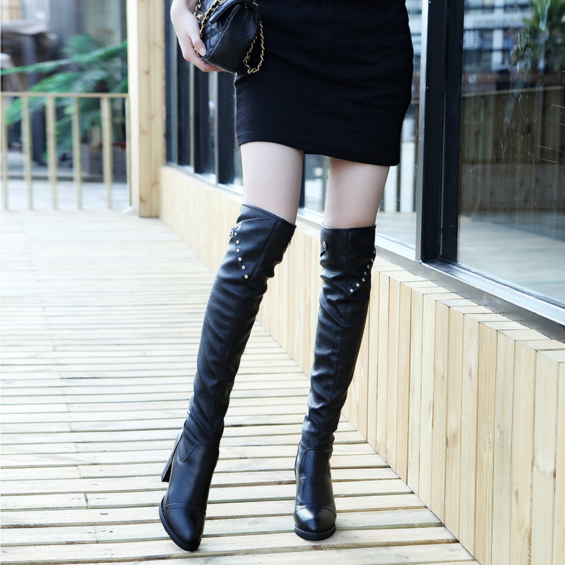 New 2018 Autumn Winter Women Boots Stretch Slim Thigh High Boots Fashion Over the Knee Boots High Heels Shoes Woman Sapatos joyhopy autumn winter over the knee boots women wedges platform thigh high boots rivet woman high heel thin leg stretch boots