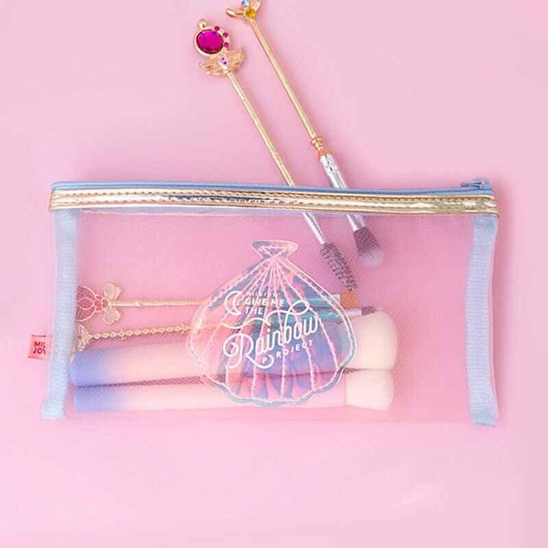 Shell Net fios Coin Purse Make up Caso Flamingo Bentoy Milkjoy Meninas Saco do Lápis Estudante Coréia Japão Bolsa Da Moeda Das Mulheres cosméticos