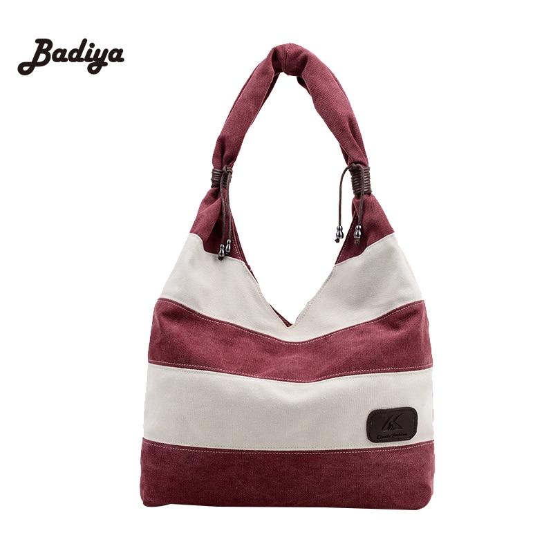 20df8b949678 Grande Capacità Delle Donne A Strisce Modo del Sacchetto di Spalla della  Tela di canapa Delle Donne Shopping Tote Bag Signore Borse Casuali