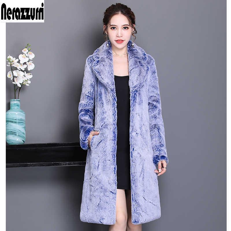 Nerazzurri Winter faux pelzmantel frauen luxus flauschigen pelzigen jacke verdicken warme lange plus größe gefälschte rex kaninchen pelz outwear 5xl 6xl