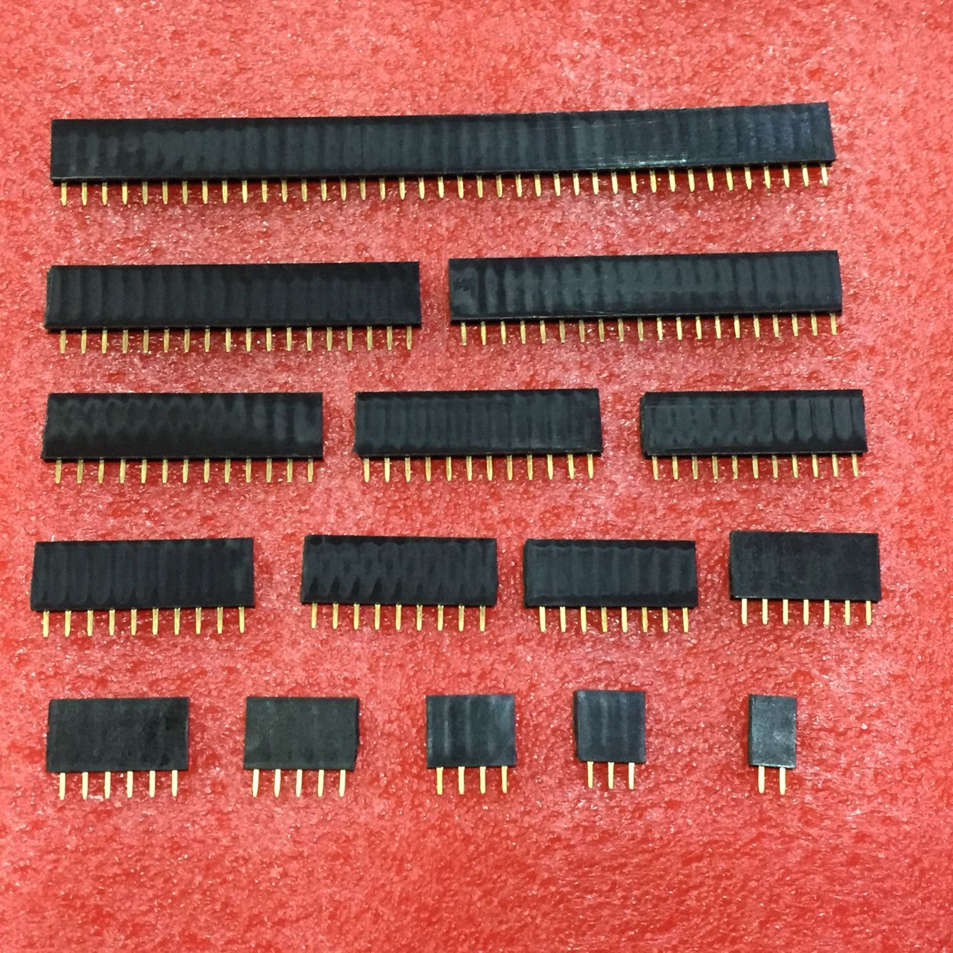 Single row female 2.54mm Pitch PCB Female Pin Header Connector Straight Single Row 2/3/4/5/6/7/8/9/10/11/12/13/14/15/16/20/40Pin image