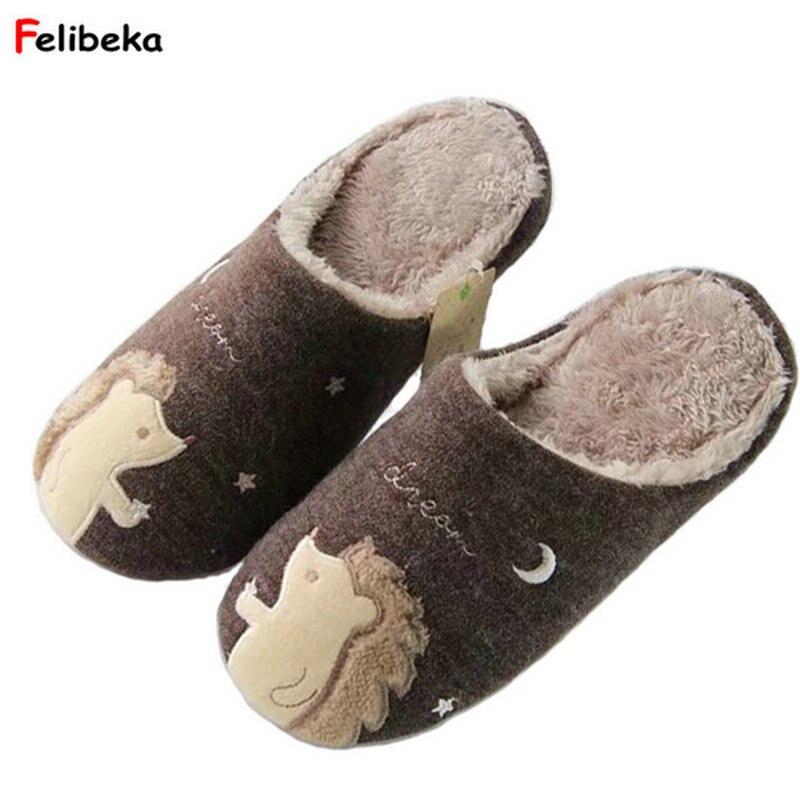 FELIBEKA Hedgehog home slippers women shoes couples cute pulsh chinelo slippers fluffy zapatos mujer pantufa sapatos mulher