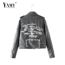 Fashon Street graffiti PU leather Jackets New women zipper turn-down collar Printed Coats Jaquetas De Couro Outwear Plus size