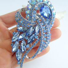 """3,7"""" синий кристалл горного хрусталя бантом брошка заколка медальон EE04243C10"""