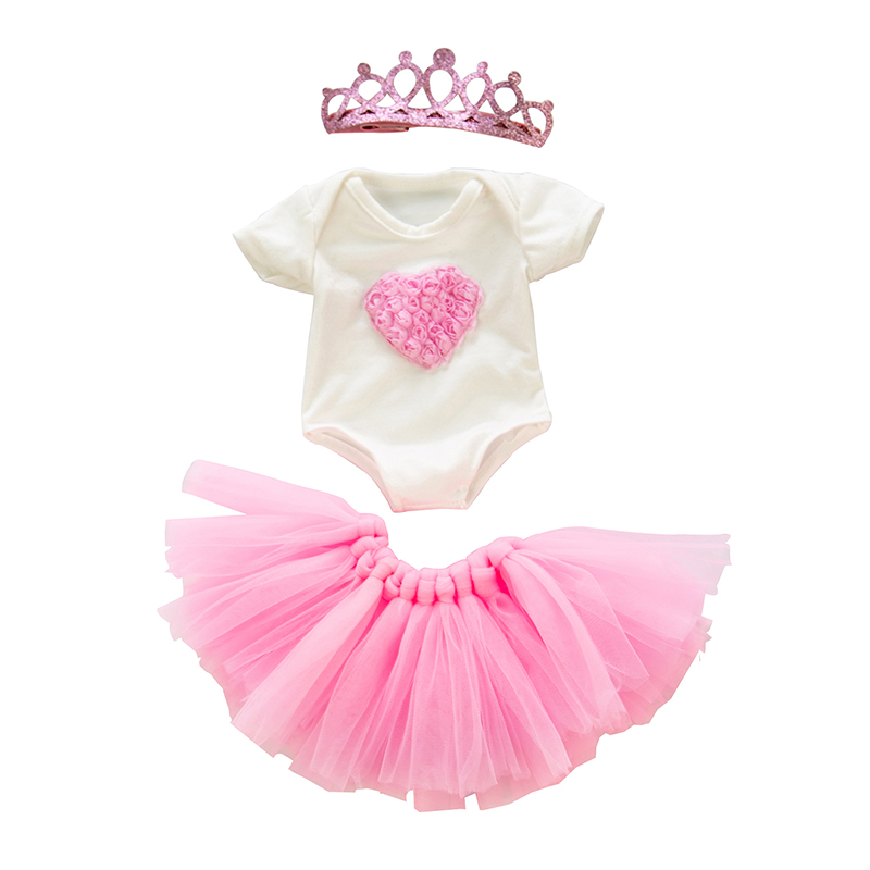 Doll Clothes 3 Pieces Born New Baby Fit 18 Inch 40-43cm Doll Pink Love Mermaid Crown Dress Suit Doll Accessories For Baby Gift