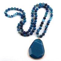 MOODPC модные богемные ювелирные украшения в этническом стиле длинное из натурального камня завязанное ожерелье s Facet висячая подвеска женско...