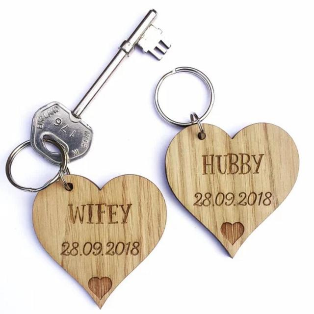 Personalised Anniversary Gift Wood Keyring Wedding Husband Wife Hubby Wifey His Hers For