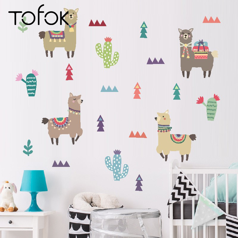 Tofok Indian Style Alpaca Cactus Children Room Wall Stickers Cartoon Animal Removable Decals Nursery Home Decoration Paste(China)