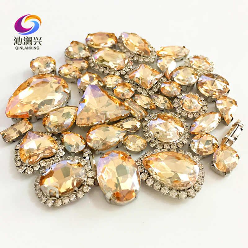 แชมเปญสีทองขนาดผสมคริสตัล + rhinestone, ฐานเงิน galss เย็บบนหิน diy/เสื้อผ้าอุปกรณ์เสริม 50 ชิ้น/แพ็ค
