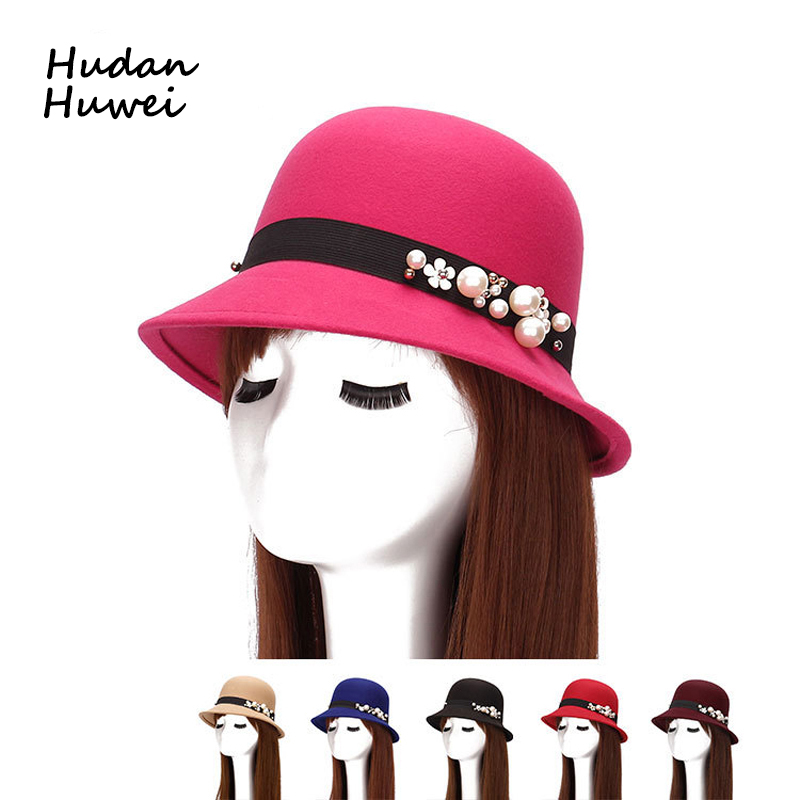 New Spring Winter Hats For Women Soft Wool Felt Fedoras with Pearl Flower Ladies Stingy Brim Bucket Hat GH-48
