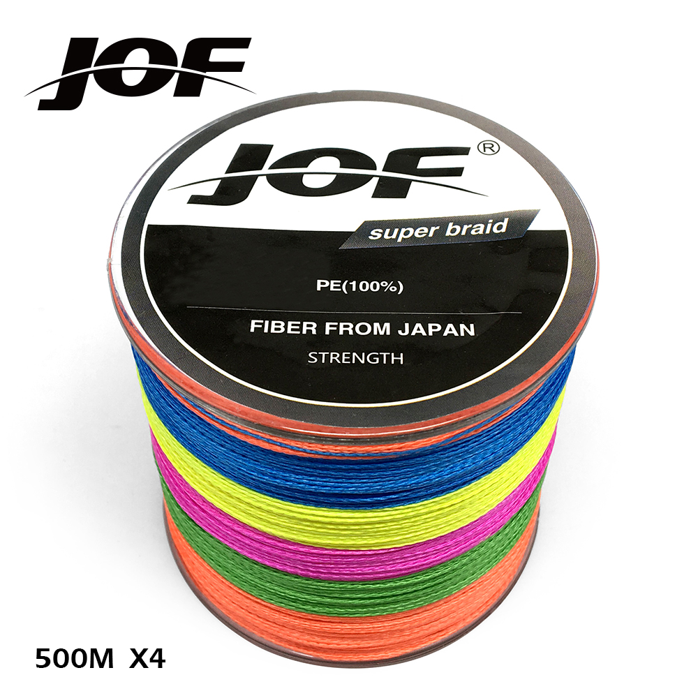 JOF Brand Braided Fishing Line Multicolor 500m Smooth Multifilament PE 4Strands Braided Cord 18-80LB Strong Japan Technology светильник подвесной colosseo fiora 61402 3a