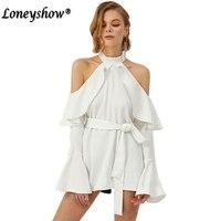 Loneyshow 2017 Elegant Summer Ruffles Dress Women Off The Shoulder Halter Flare Sleeve White Black Sexy