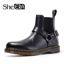 Buckle Chelsea Boots Men's Martin Boots Autumn and Winter  Men's Leather Boots Comfortable Casual Leather Boots Martin Boots цена 2017