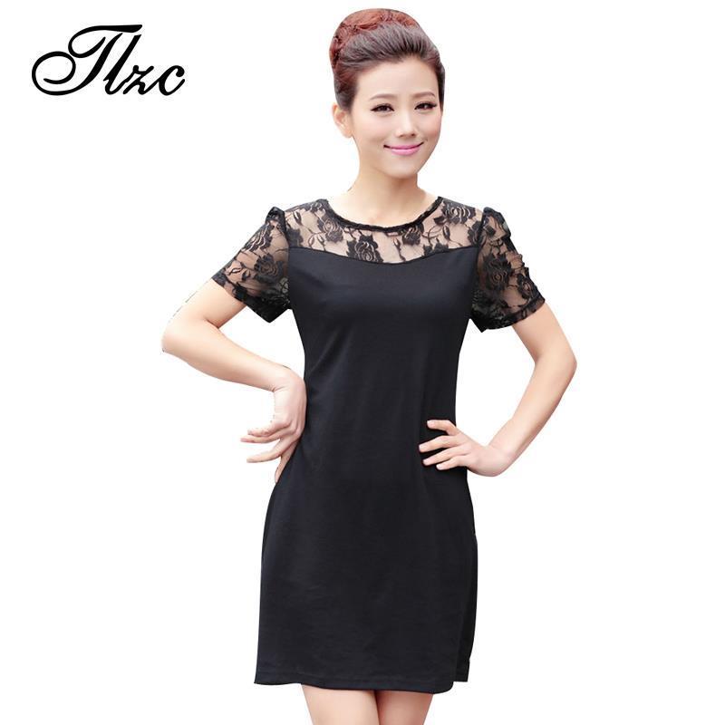 Lace women modern dress big size m 4xl flower pattern lady sweet dress