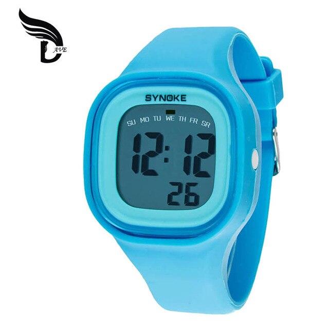 a4df5ef86df7 Reloj SYNOKE niños Color tormenta pantalla táctil reloj LED reloj Digital  colorido silicona deportes relojes niños