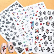 Newest CA-161 127 3d nail sticker art template rose design decal back glue Japan type DIY decoration tools